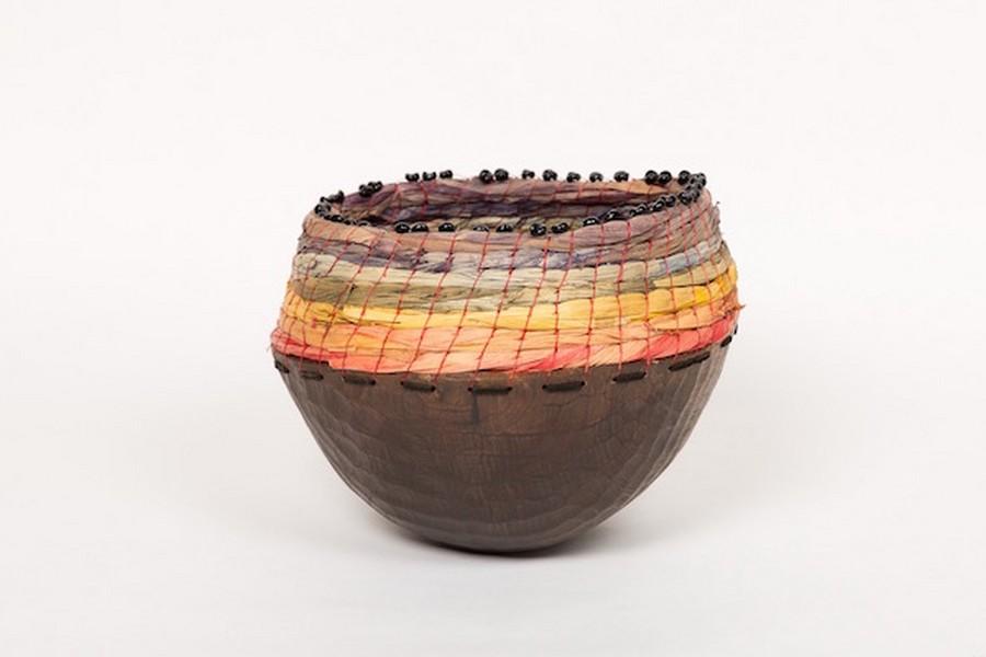 Regenboog - maïsblad, houten kom, kunstpees - coiling